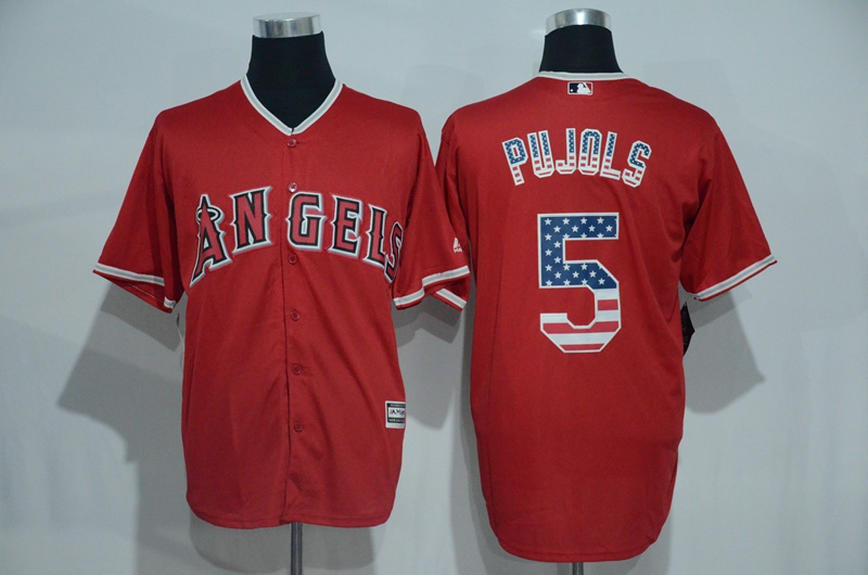 2016 MLB Los Angeles Angels 5 Pujols Red USA Flag Fashion Jerseys