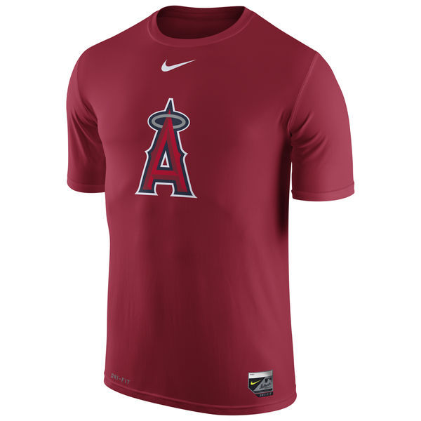 2016 MLB Los Angeles Angels of Anaheim Nike Authentic Collection Legend Logo 1.5 Performance T-Shirt - Red