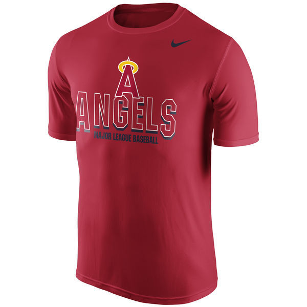2016 MLB Los Angeles Angels of Anaheim Nike Cooperstown Legend Team Issue Performance T-Shirt - Red
