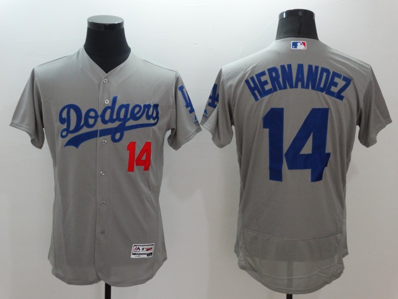 2016 MLB Los Angeles Dodgers 14 Hernandez Grey Elite Fashion Jerseys