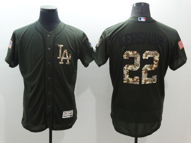 2016 MLB Los Angeles Dodgers 22 Clayton Kershaw Green Salute to Service Stitched Baseball Jersey