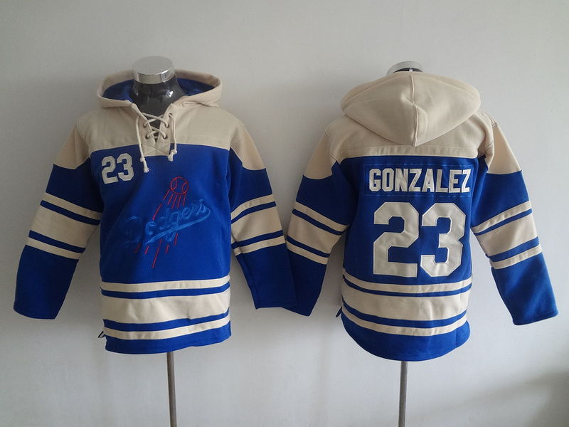 2016 MLB Los Angeles Dodgers 23 Gonzalez blue Lace Up Pullover Hooded Sweatshirt