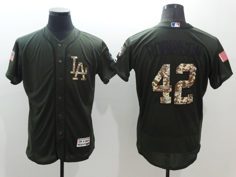 2016 MLB Los Angeles Dodgers 42 Jackie Robinson Green Salute to Service Stitched Baseball Jersey