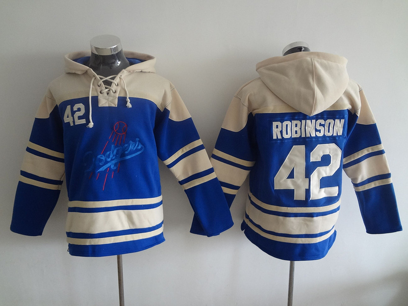 2016 MLB Los Angeles Dodgers 42 Robinson blue Lace Up Pullover Hooded Sweatshirt