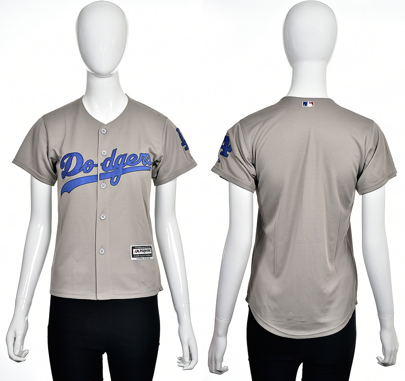 2016 MLB Los Angeles Dodgers Blank grey women jerseys