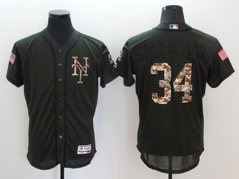 2016 MLB New York Mets 34 Syndergaard Green Salute to Service Stitched Baseball Jersey
