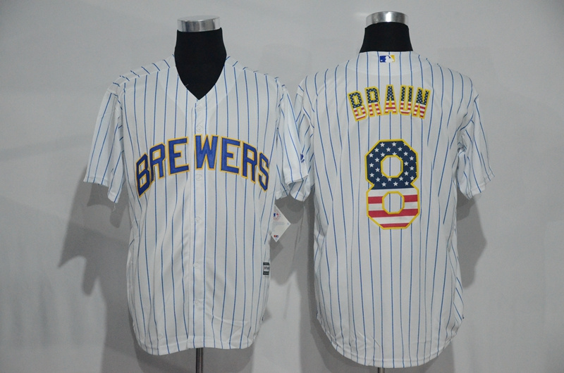 2016 MLB New York Mets 8 Braun White USA Flag Fashion Jerseys