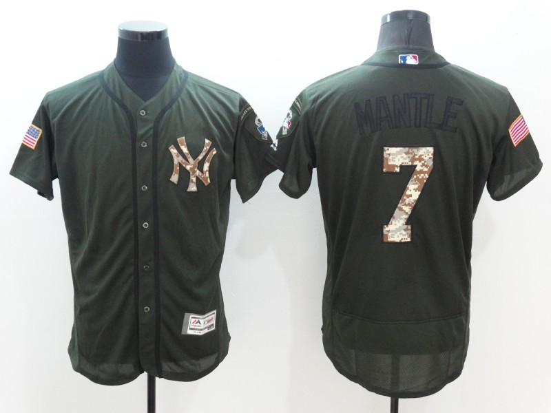 2016 MLB New York Yankees 7 Mickey Mantle Green Salute to Service Stitched Baseball Jersey