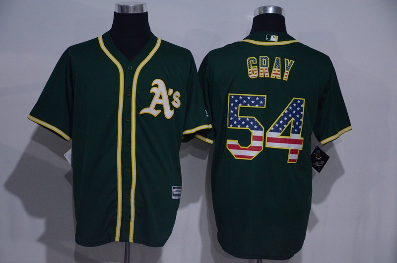 2016 MLB Oakland Athletics 54 Gray Green USA Flag Fashion Jerseys