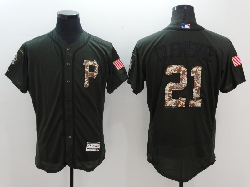 2016 MLB Pittsburgh Pirates 21 Clemente Green Salute to Service Stitched Baseball Jersey