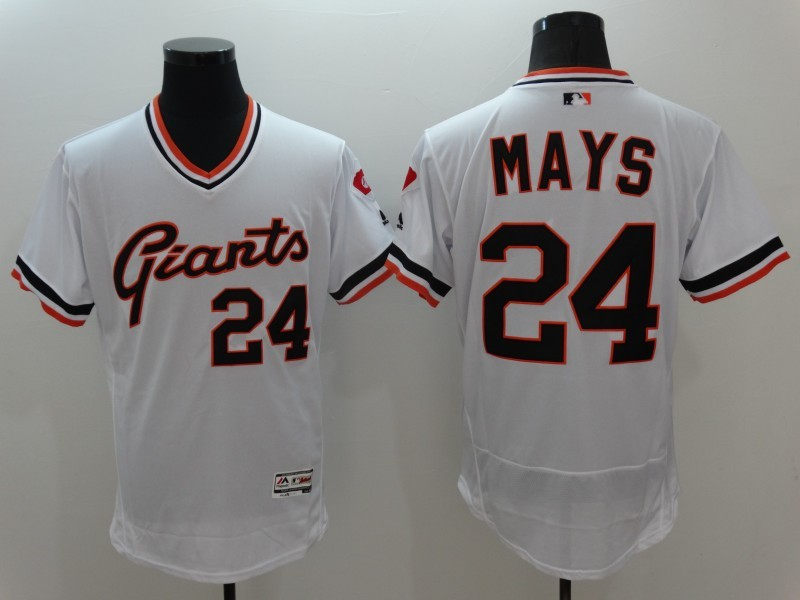 2016 MLB San Francisco Giants 24 Mays White Elite Throwback Jerseys
