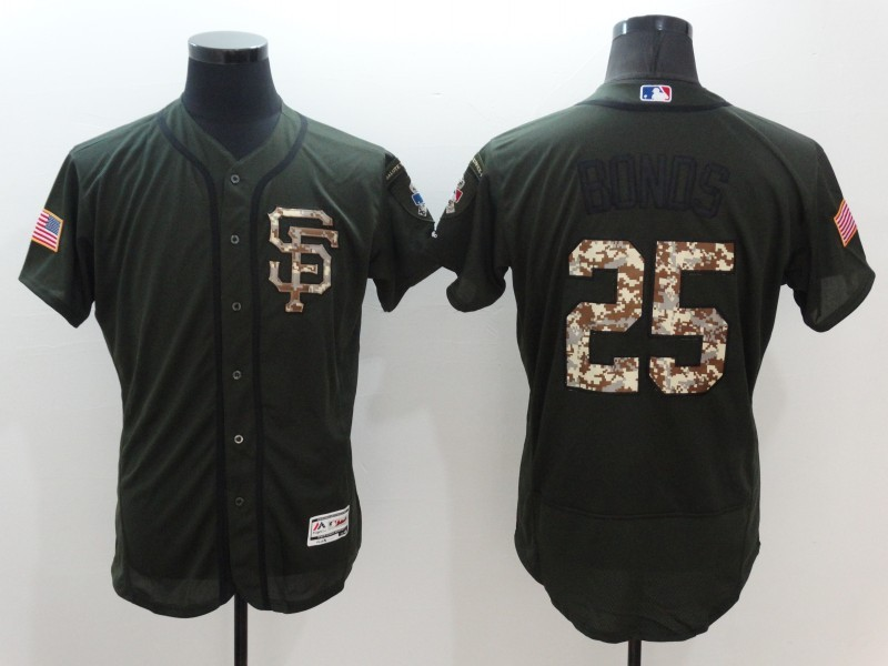 2016 MLB San Francisco Giants 25 Barry Bonds Green Salute to Service Stitched Baseball Jersey