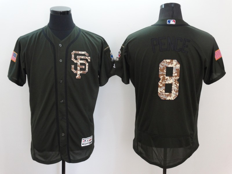 2016 MLB San Francisco Giants 8 Pence Green Salute to Service Stitched Baseball Jersey