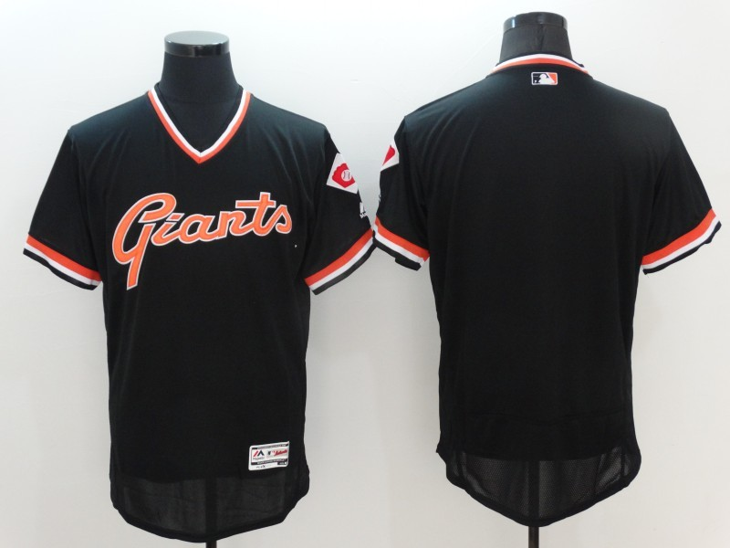 2016 MLB San Francisco Giants Blank Black Elite Throwback Jerseys
