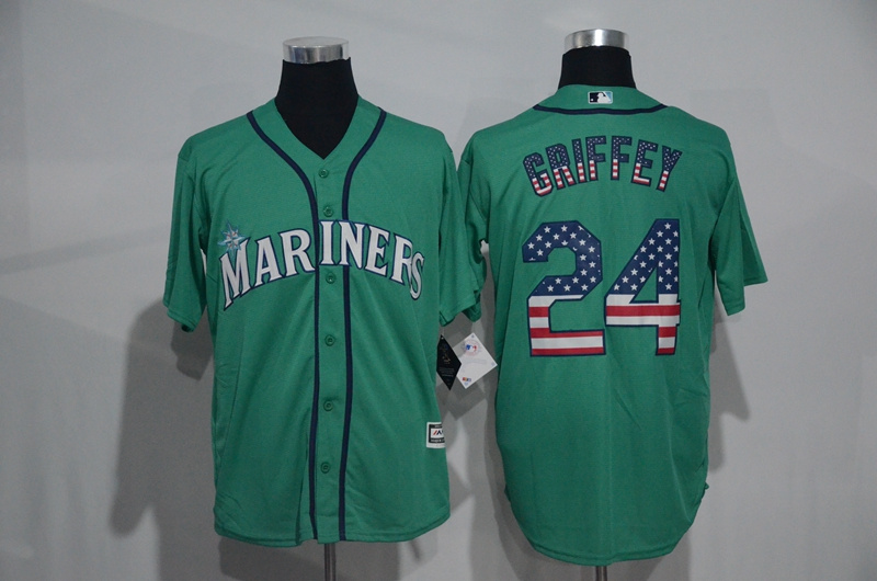 2016 MLB Seattle Mariners 24 Ken Griffey Green USA Flag Fashion Jerseys