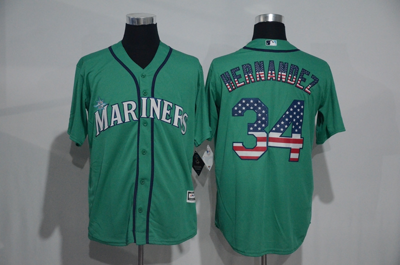 2016 MLB Seattle Mariners 34 Felix Hernandez Green USA Flag Fashion Jerseys