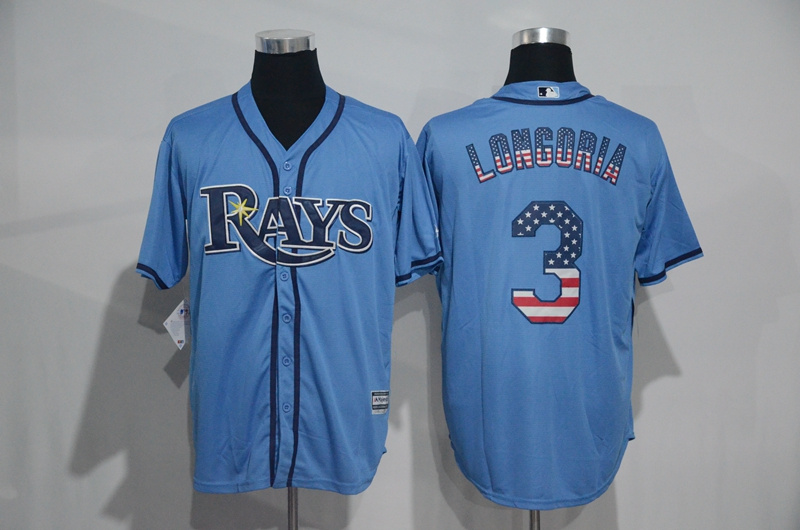 2016 MLB Tampa Bay Rays 3 Longoria Blue USA Flag Fashion Jerseys