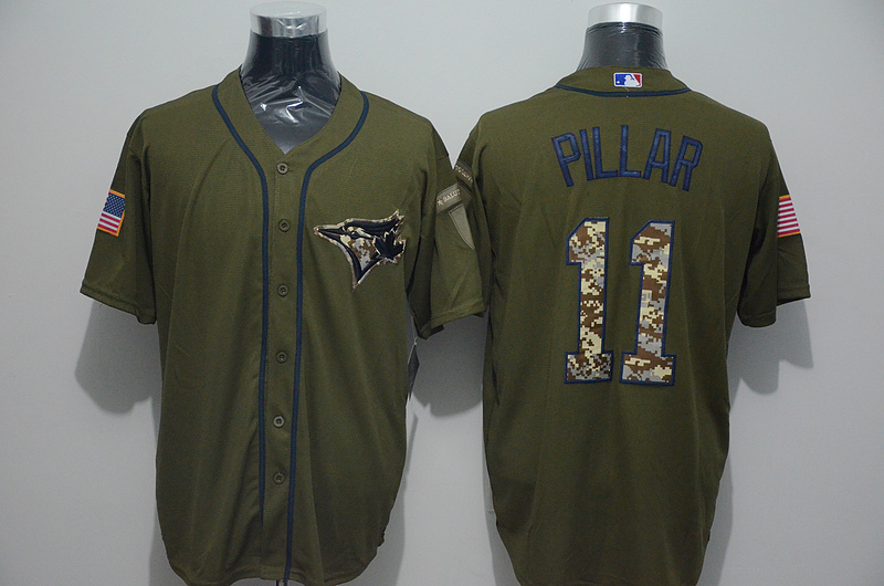 2016 MLB Toronto Blue Jays 11 Kevin Pillar Green Salute to Service Stitched Baseball Jersey