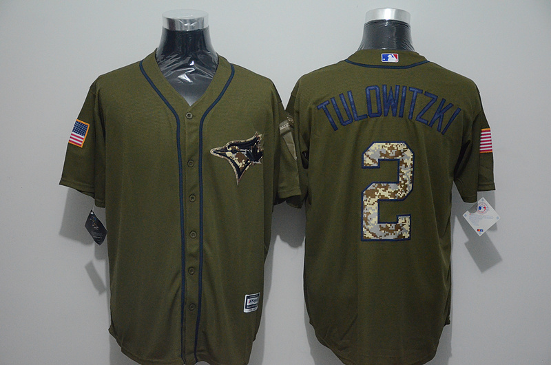 2016 MLB Toronto Blue Jays 2 Troy Tulowitzki Green Salute to Service Stitched Baseball Jersey
