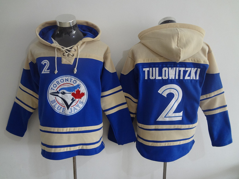 2016 MLB Toronto Blue Jays 2 Tulowitzki blue Lace Up Pullover Hooded Sweatshirt
