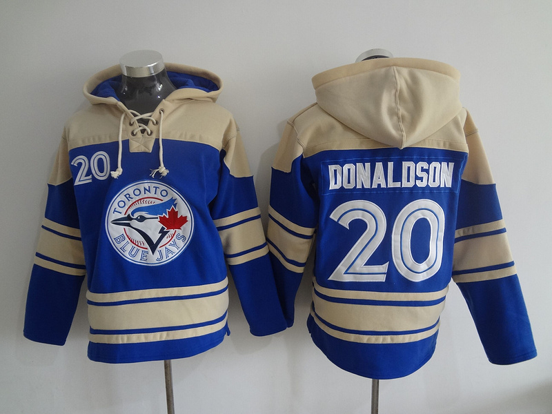 2016 MLB Toronto Blue Jays 20 Donaldson blue Lace Up Pullover Hooded Sweatshirt