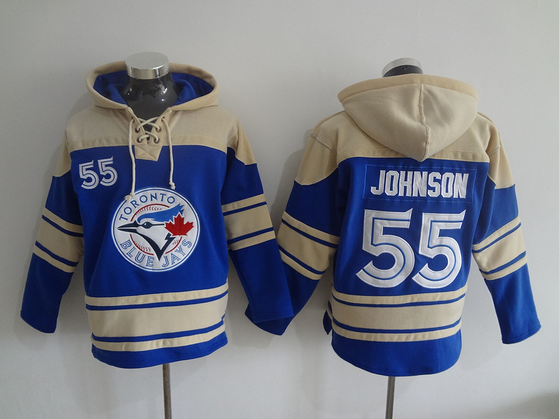 2016 MLB Toronto Blue Jays 55 Johnson blue Lace Up Pullover Hooded Sweatshirt