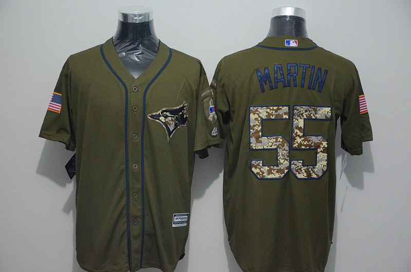 2016 MLB Toronto Blue Jays 55 Russell Martin Green Salute to Service Stitched Baseball Jersey