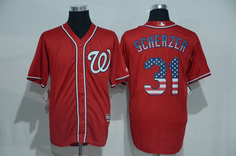 2016 MLB Washington Nationals 31 Scherzer Red USA Flag Fashion Jerseys