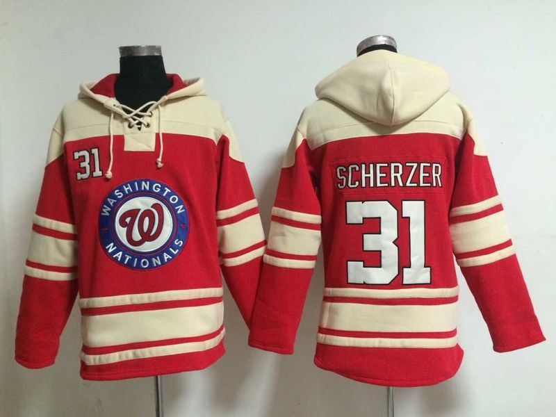 2016 MLB Washington Nationals 31 Scherzer red Lace Up Pullover Hooded Sweatshirt