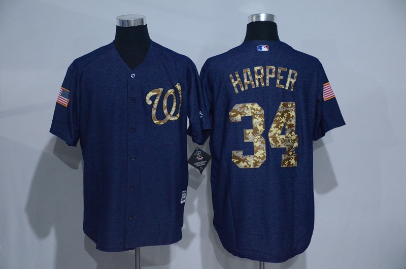 2016 MLB Washington Nationals 34 Harper Cowboy blue camouflage