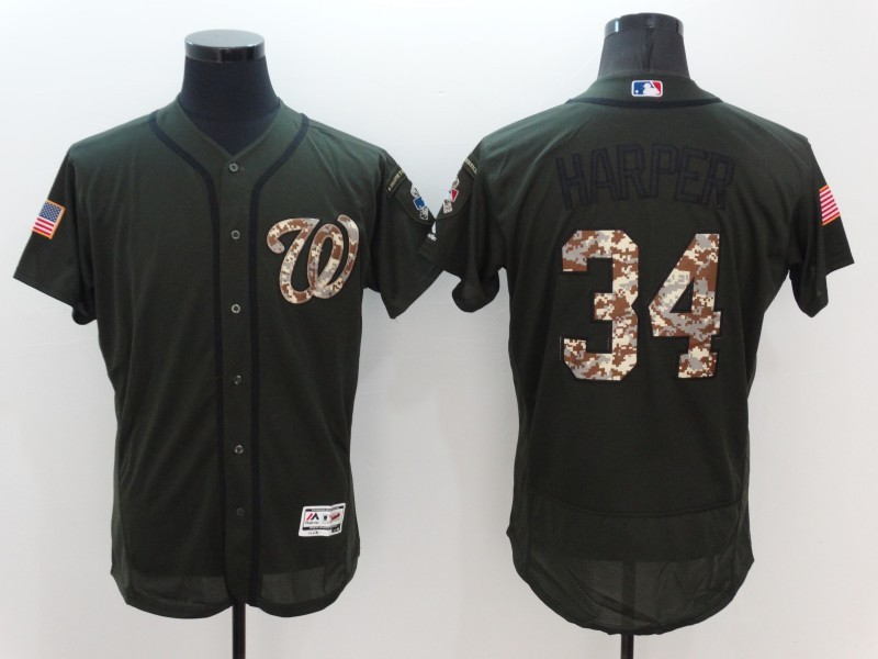 2016 MLB Washington Nationals 34 Harper Green Salute to Service Stitched Baseball Jersey