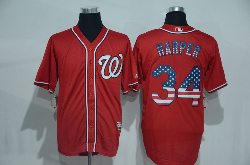 2016 MLB Washington Nationals 34 Harper Red USA Flag Fashion Jerseys