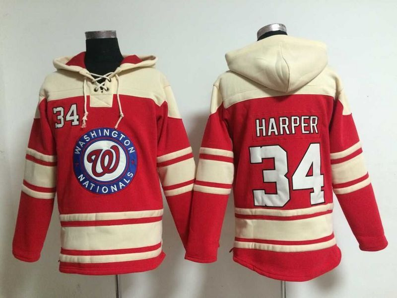 2016 MLB Washington Nationals 34 Harper red Lace Up Pullover Hooded Sweatshirt