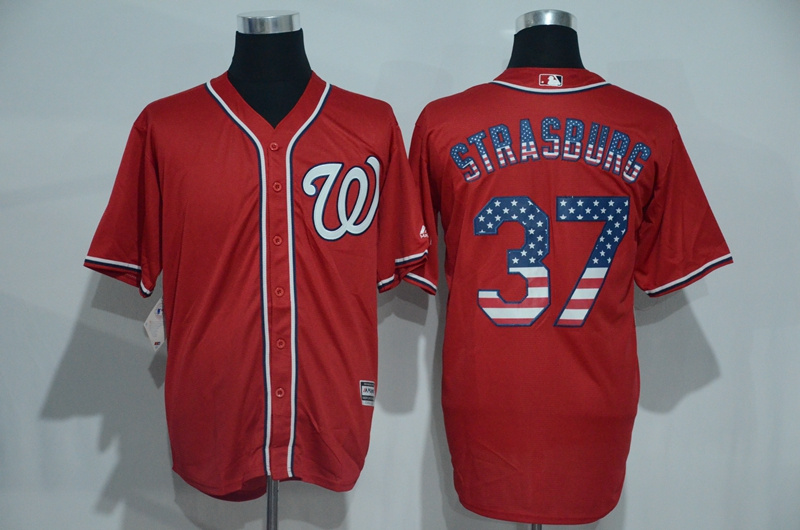 2016 MLB Washington Nationals 37 Strasburg Red USA Flag Fashion Jerseys