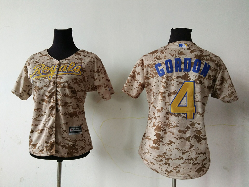 2016 MLB Womens Kansas City Royals 4 ALEX GORDON Camo Jersey