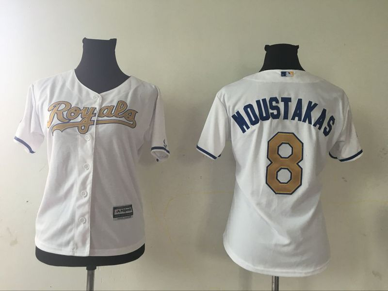 2016 MLB Womens Kansas City Royals 8 MIKE MOUSTAKAS WHITE GOLD Jersey