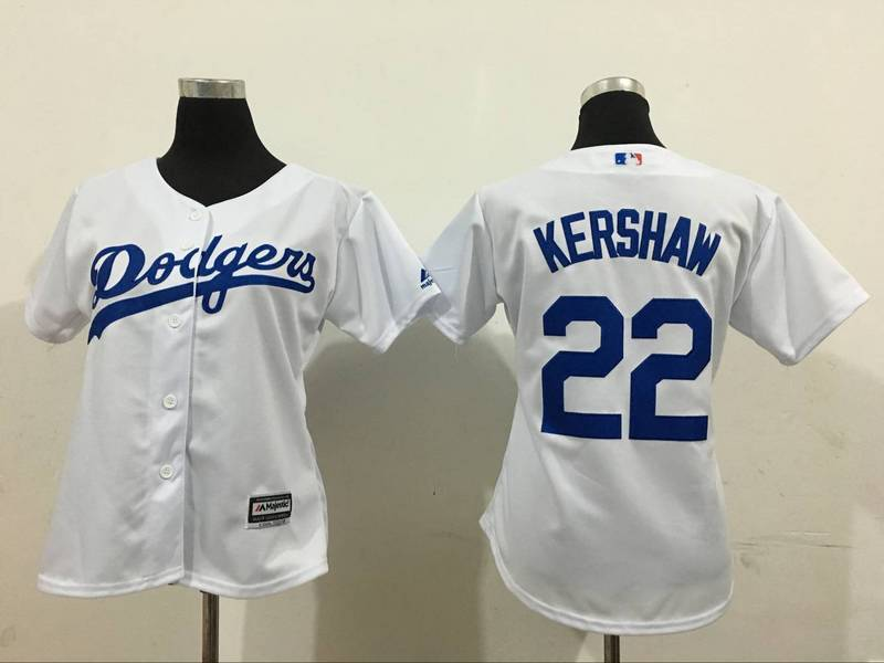 2016 MLB Womens Los Angeles Dodgers 22 Kershaw White Jersey