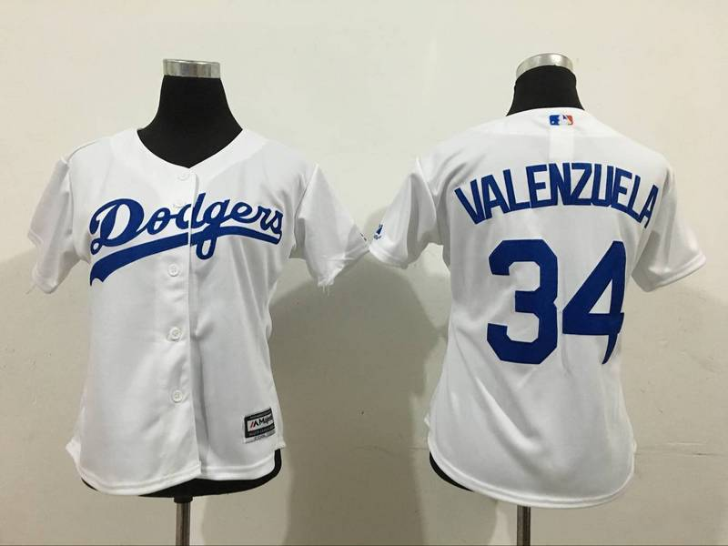 2016 MLB Womens Los Angeles Dodgers 34 Valenzuela White Jersey