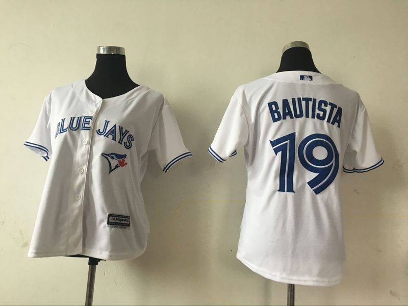 2016 MLB Womens Toronto Blue Jays 19 Jose Bautista White Jersey