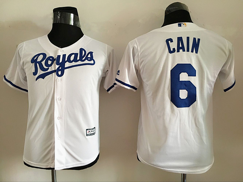 2016 MLB Youth Los Angeles Dodgers 6 Cain White Jersey