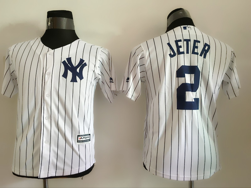 2016 MLB Youth New York Yankees 2 Jeter White stripes Jerseys