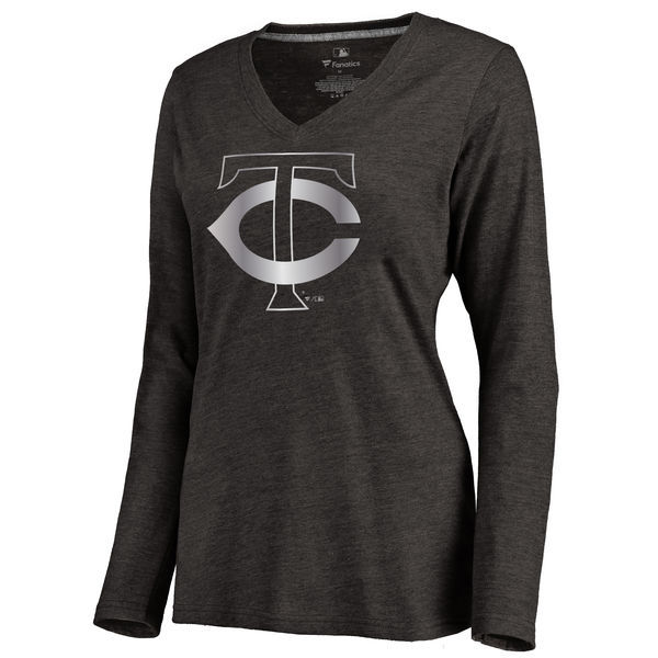 2016 Minnesota Twins Women's Platinum Collection Long Sleeve V-Neck Tri-Blend T-Shirt Black