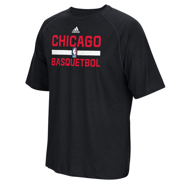 2016 NBA Chicago Bulls adidas Noches Ene-Be-A Practicewear Performance T-Shirt - Black