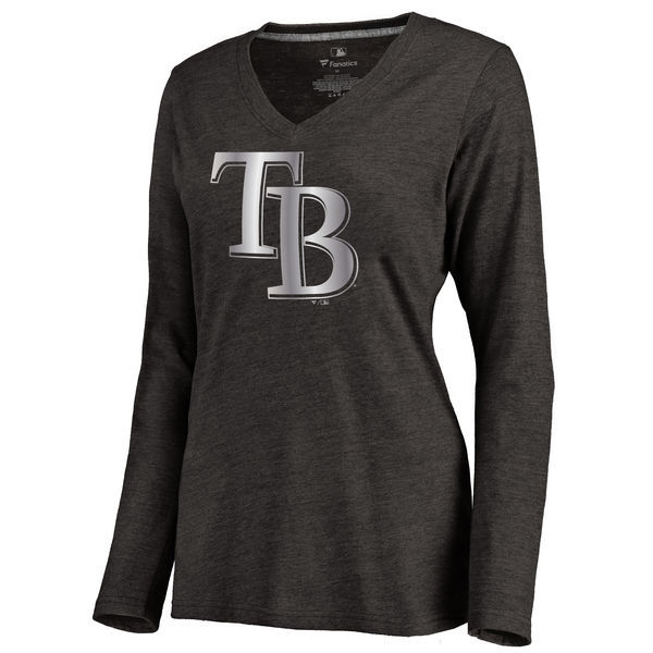 2016 Tampa Bay Rays Women's Platinum Collection Long Sleeve V-Neck Tri-Blend T-Shirt Black