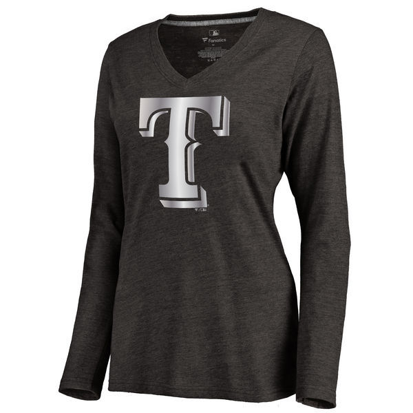 2016 Texas Rangers Women's Platinum Collection Long Sleeve V-Neck Tri-Blend T-Shirt Black
