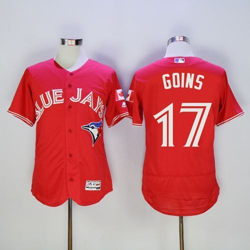 2016 Toronto Blue Jays 17 Ryan Goins Red Flexbase Authentic Collection Canada Day Stitched Baseball Jersey