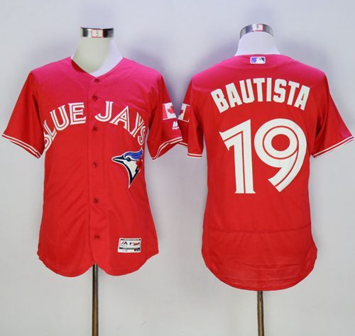 2016 Toronto Blue Jays 19 Jose Bautista Red Flexbase Authentic Collection Canada Day Stitched Baseball Jersey