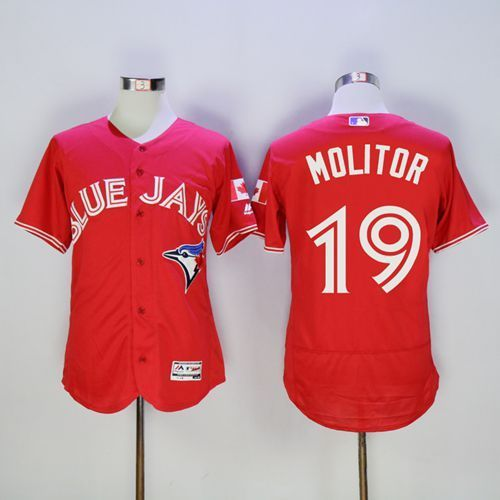 2016 Toronto Blue Jays 19 Paul Molitor Red Flexbase Authentic Collection Canada Day Stitched Baseball Jersey