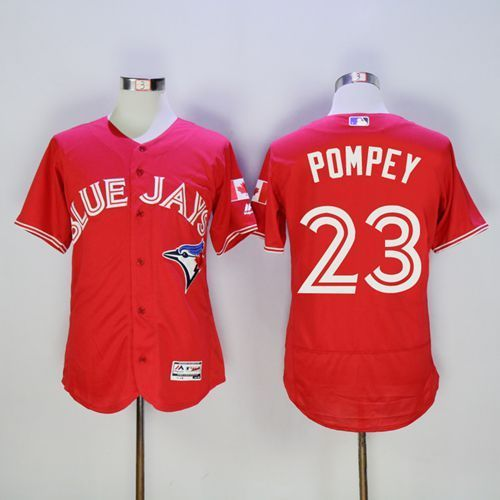 2016 Toronto Blue Jays 23 Dalton Pompey Red Flexbase Authentic Collection Canada Day Stitched Baseball Jersey