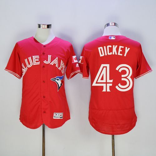2016 Toronto Blue Jays 43 R.A. Dickey Red Flexbase Authentic Collection Canada Day Stitched Baseball Jersey